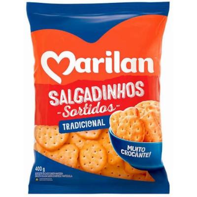 Biscoito salgado sortidos 400g Marilan/Salgadinhos pacote PCT