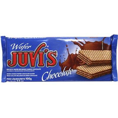 Biscoito wafer sabor chocolate 100g Juvi's pacote PCT