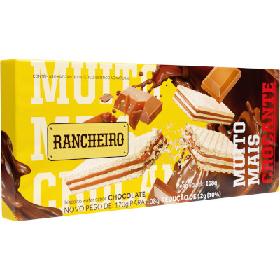 Biscoito wafer sabor chocolate 108g Rancheiro pacote PCT