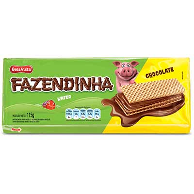 Biscoito wafer sabor chocolate 115g Fazendinha pacote PCT