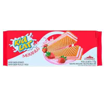 Biscoito Wafer sabor Morango 115g Duchen/KidLat pacote PCT