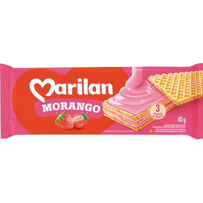 Biscoito wafer sabor Morango 80g Marilan pacote PCT