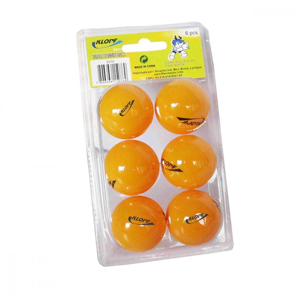 Bola de Ping Pong 5076 Laranja 6 unidade Klopf pacote PCT