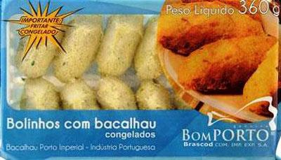 Bolinho de bacalhau congelado por Kg Bom Porto  KG