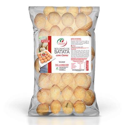 Bolinho de carne com massa de batata congelado 25g por kg Trevisan pacote KG