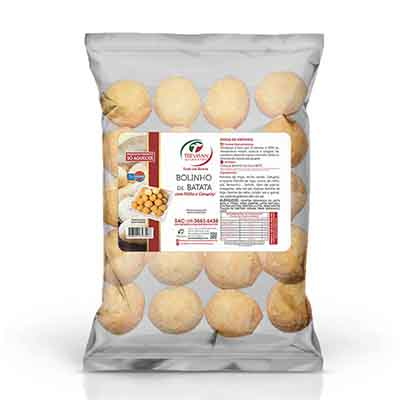 Bolinho de milho e catupiry com massa de batata congelado 25g por kg Trevisan pacote KG