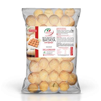Bolinho de queijo com massa de batata congelado 25g por kg Trevisan pacote KG