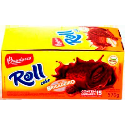 Bolinho sabor brigadeiro 15 unidades Bauducco/Roll Cake caixa CX