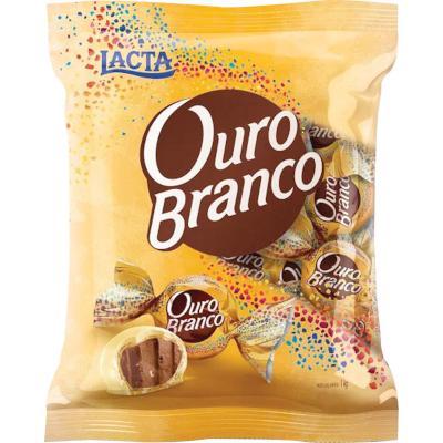 Bombom Chocolate Branco 1kg Lacta/Ouro Branco pacote PCT