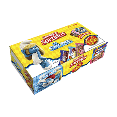 Bombom chocolate 180g Smurfs pacote PCT