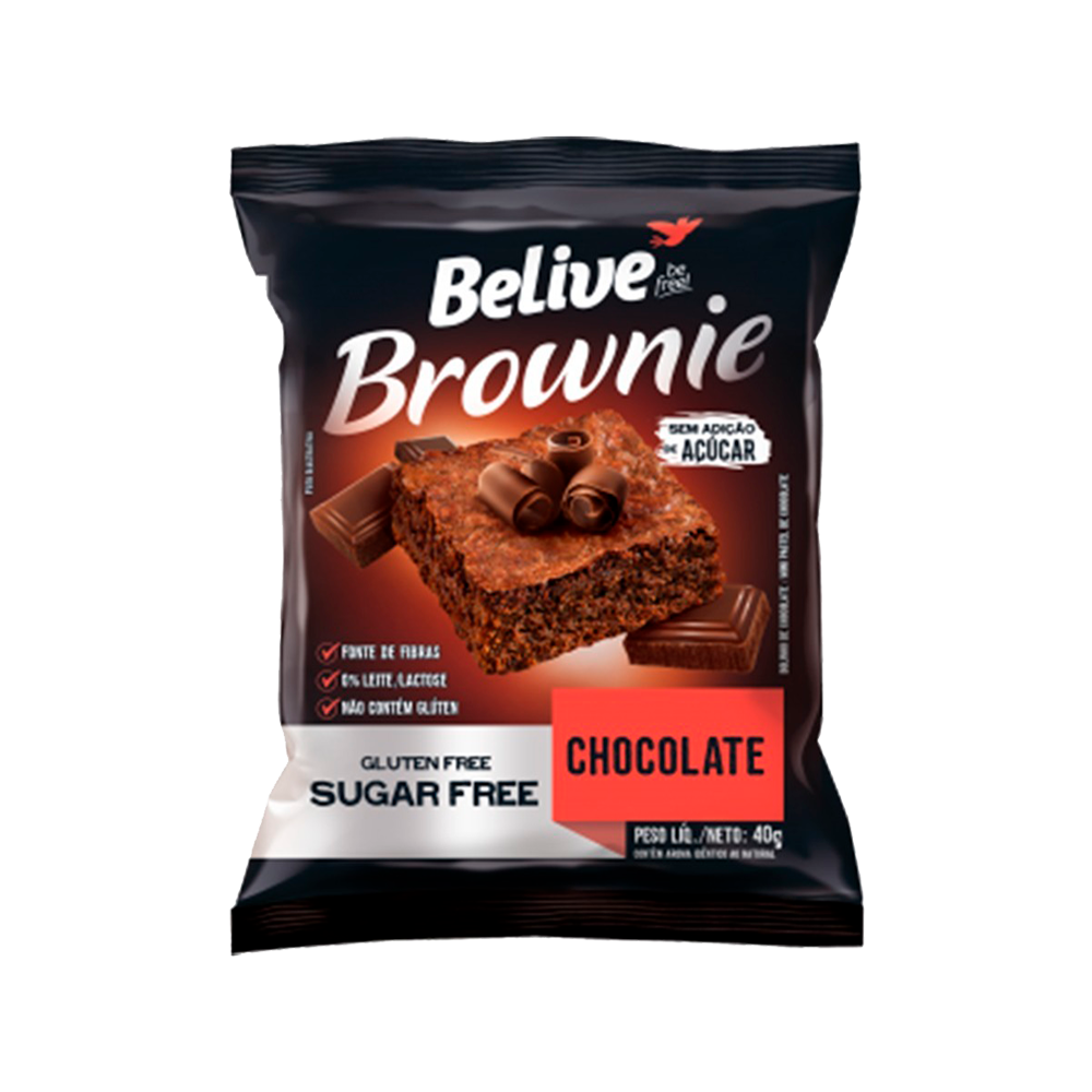 Brownie sabor chocolate sem glúten e sem açúcar 40g Belive  UN