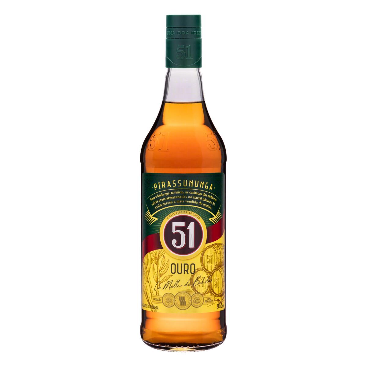 Cachaça Pirassununga Ouro 965ml 51 garrafa UN