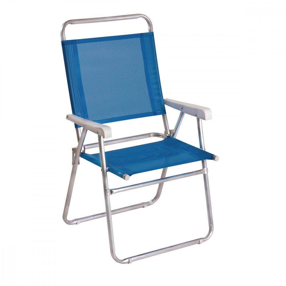 Cadeira de Praia Dobrável em Alumínio 1 Nível Master Azul unidade Mor  UN