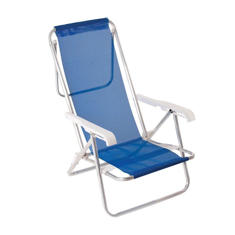 Cadeira de Praia Reclinável em Alumínio 8 Níveis Sannet Azul unidade Mor  UN