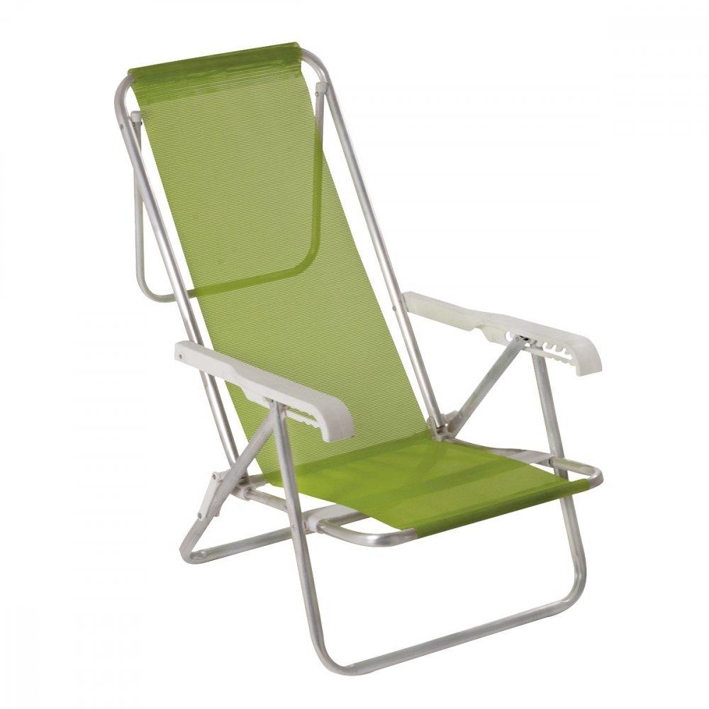 Cadeira de Praia Reclinável em Alumínio 8 Níveis Sannet Verde unidade Mor  UN
