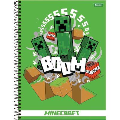 Caderno Espiral capa dura MineCraft 200 folhas Foroni 10 matérias UN