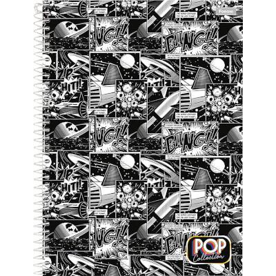 Caderno Espiral capa dura Pop Collection 200 folhas Foroni 10 matérias UN