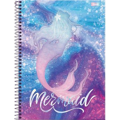 Caderno Espiral capa dura Sereias 160 folhas Foroni 10 matérias UN