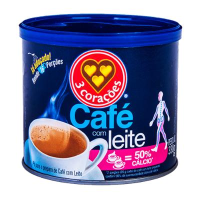 Café solúvel com leite 330g 3 Corações lata LT