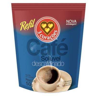 Café solúvel descafeinado 50g 3 Corações pacote PCT