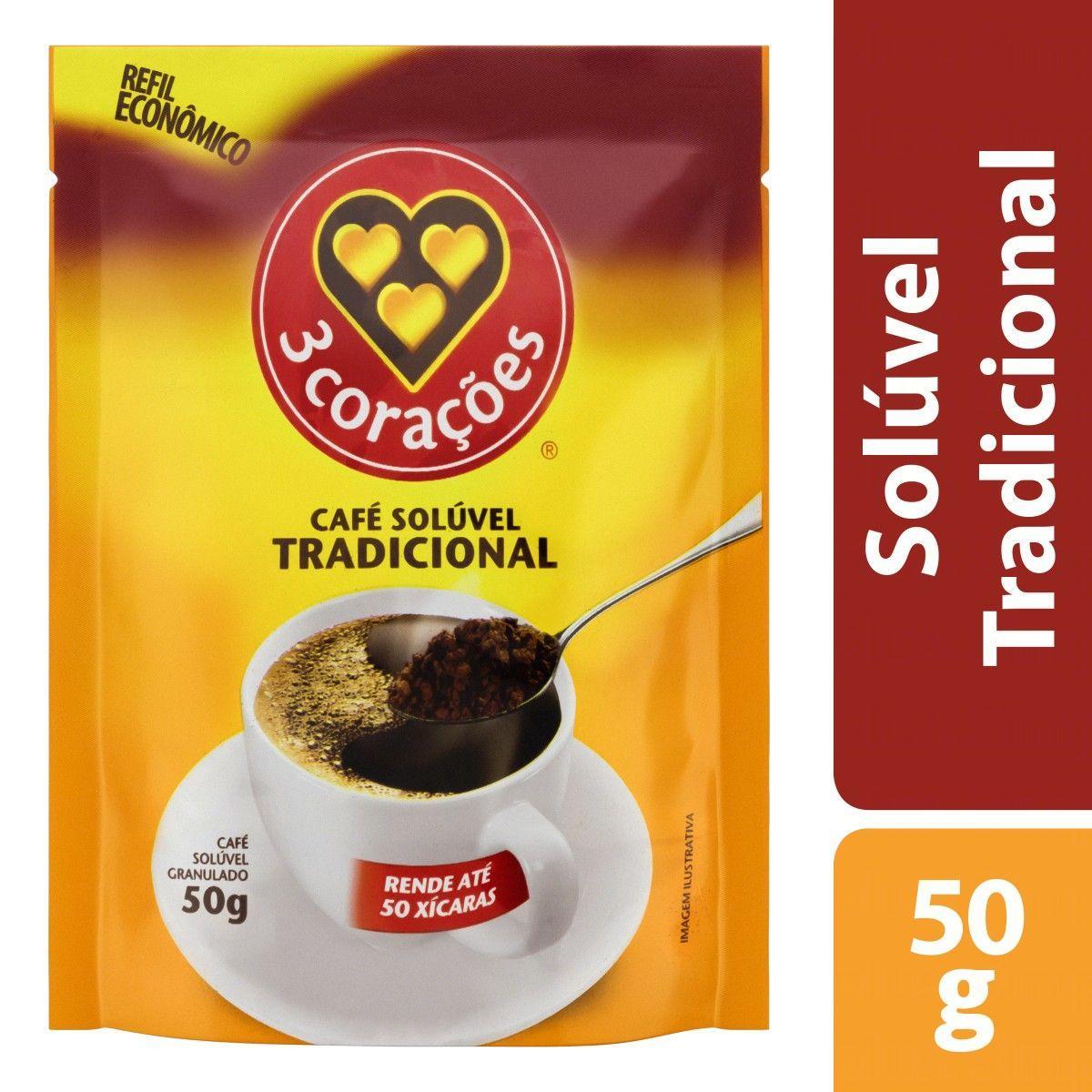 Café solúvel tradicional 50g 3 Corações pacote PCT