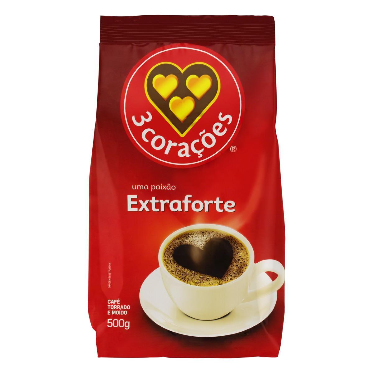 Café Torrado e Moído Extra Forte (em pó) 500g 3 Corações almofada UN