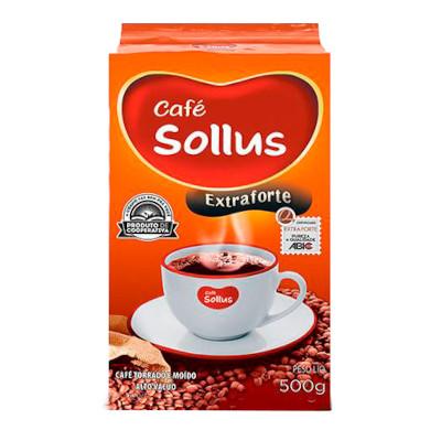 Café torrado e moído extra forte (em pó) 500g Coamo Sollus vácuo UN