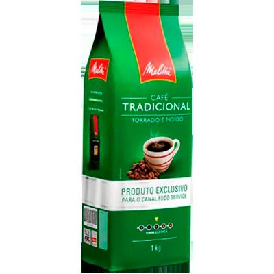 Café torrado e moído tradicional (em pó) 1kg Melitta almofada UN