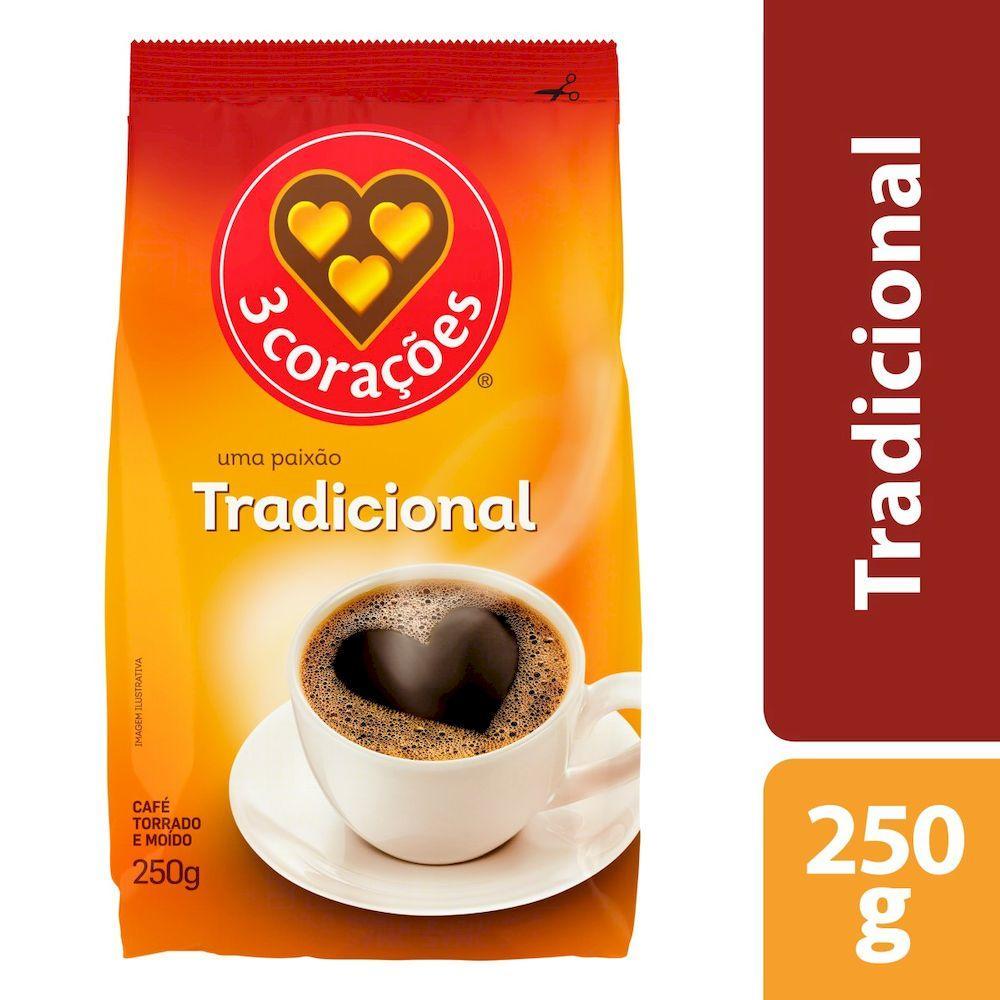 Café torrado e moído tradicional (em pó) 250g 3 Corações almofada UN