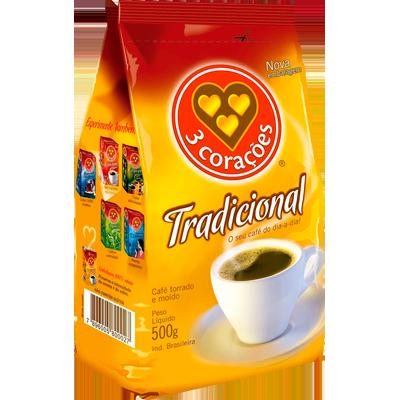 Café torrado e moído tradicional (em pó) 500g 3 Corações almofada UN