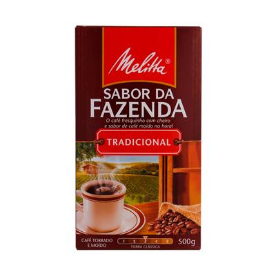 Café torrado e moído tradicional (em pó) 500g Sabor da Fazenda/Melitta vácuo UN