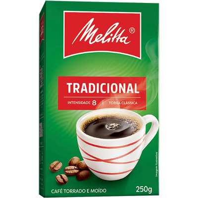 Café torrado e moído tradicional (em pó) 250g Melitta vácuo UN