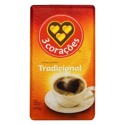 Café torrado e moído tradicional (em pó) 500g 3 Corações vácuo UN
