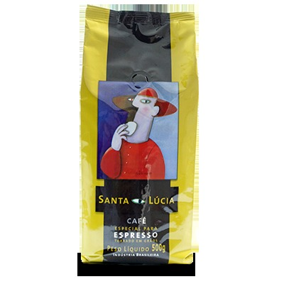 Café torrado em grãos gourmet 500g Santa Lucia almofada UN