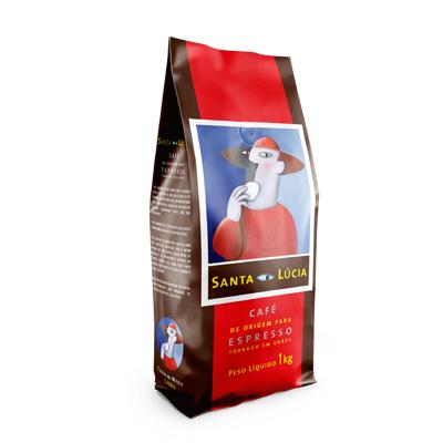 Café torrado em grãos gourmet 1kg Santa Lucia aluminizada com válvula italiana UN