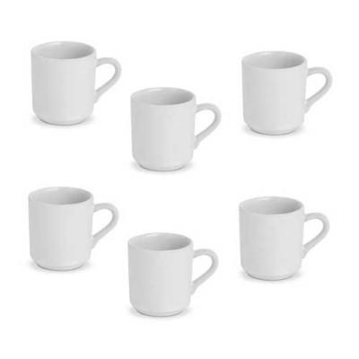 Caneca porcelana para café 06 unidades Caue pacote PCT