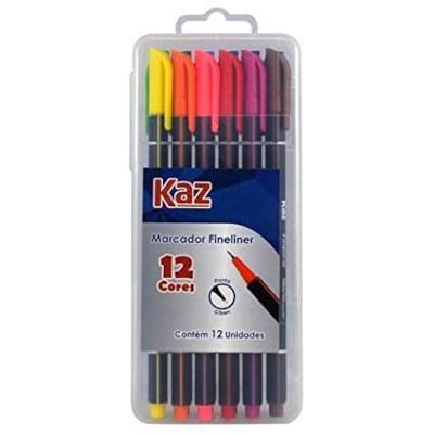 Caneta hidrográfica cores sortidas 12 unidades Kaz pacote UN