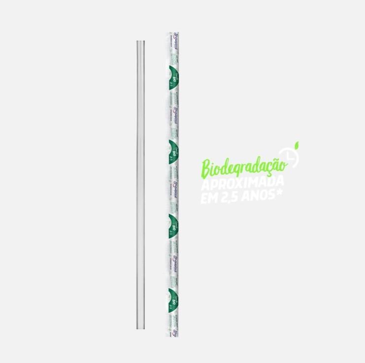 Canudo Descartável Biodegradável 19,5cm x 5mm 500 unidades Strawplast pacote PCT