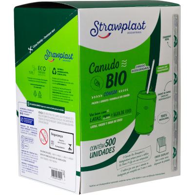 Canudo descartável biodegradável embalado 500 unidades Cristal pacote PCT