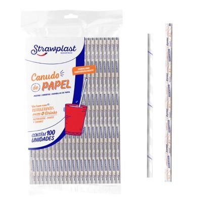 Canudo descartável de Papel 100 unidades Strawplast pacote PCT