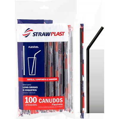 Canudo descartável sanfonado embalado para refrigerante preto 100 unidades Strawplast pacote PCT
