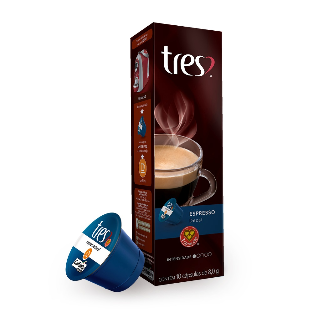 Cápsulas de Café espresso decaf 10 unidades de 8g 3 Corações caixa CX
