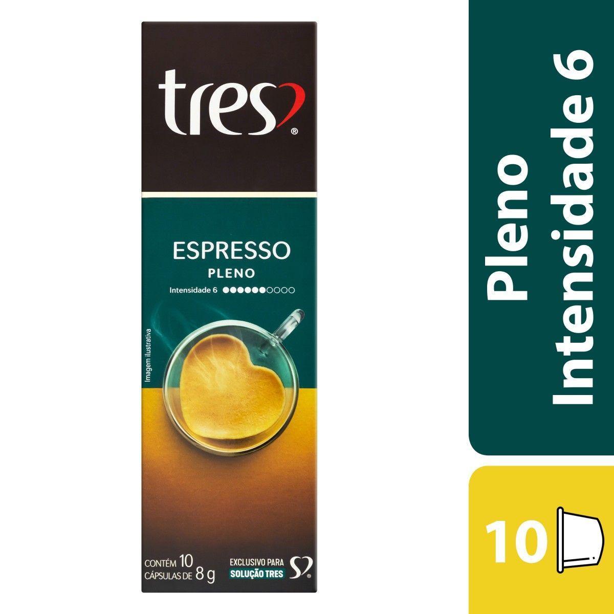 Cápsulas de Café espresso pleno 10 unidades de 8g 3 Corações caixa CX