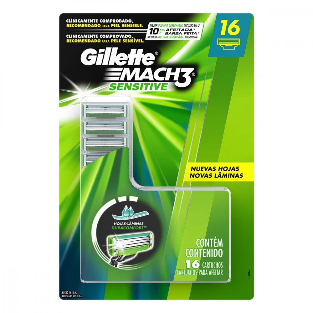 Carga para Aparelho de Barbear modelo Sensitive 16 unidades Gillette Mach3 embalagem UN