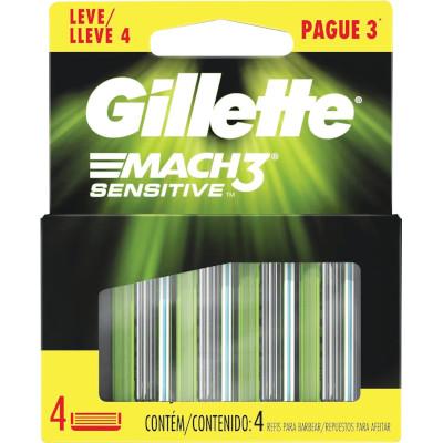 Carga para Aparelho de Barbear modelo Sensitive Leve 4 Pague 3 4 unidades Gillette  Mach3 embalagem UN