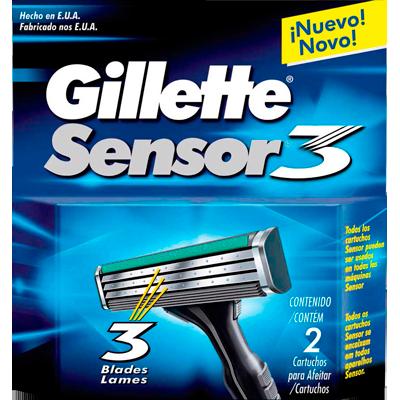 Carga para Aparelho de Barbear modelo Sensor 3 2 unidades Gillette embalagem UN