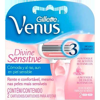Carga para Aparelho de Barbear Divine 2 unidades Gillette/Venus 3 embalagem UN