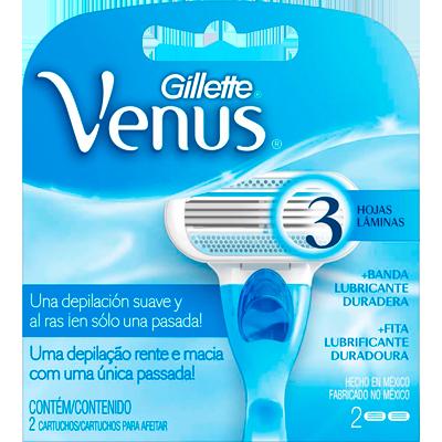 Carga para Aparelho de Barbear modelo Venus 3 Femina 2 unidades Gillette Venus 3 embalagem UN