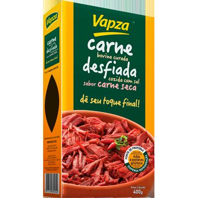 Carne Bovina curada, cozida e desfiada sem sal 400g Vapza  UN