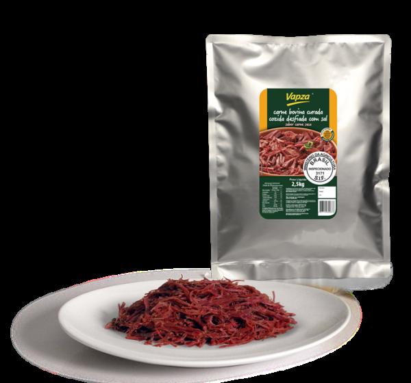 Carne Bovina curada, cozida e desfiada sem sal por kg Vapza  KG